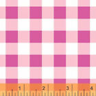 Windham Basic Brights Plaid Fabric in Hot Pink & White 29397-4 100% Cotton