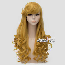 Anime Princess Sleeping Beauty Aurora 65CM Long Curly Golden Yellow Cosplay Wig