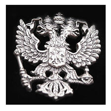 IMPERIAL EAGLE RUSSIAN DOUBLE-HEADED COAT ARMS RUSSIAN CREST SILVERY LAPEL PIN