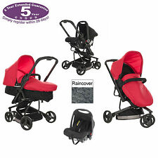 OBABY MARS RED BLACK CHASE 3 WHEEL PRAMETTE TRAVEL SYSTEM PUSHCHAIR PRAM CARSEAT