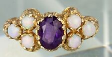 VERY IMPRESSIVE VINTAGE 9CT GOLD AMETHYST & OPAL RING VICTORIAN STYLE SETTING