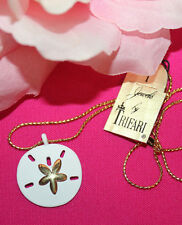 LOVELY TRIFARI SIGNED SAND DOLLAR PENDANT WITH SIGNED CHAIN AND ORIGINAL TAG-EXC