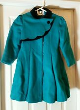 Rothschild Vintage Green and Black Velvet Wool Coat with Matching Hat sz 6