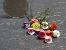 Dollhouse Miniature Red Pink Roses Flowers 1 Dozen  1:12  1 inch scale A1