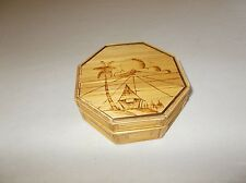Vintage Asian bamboo Octagon shaped tropical themed handmade trinket box used