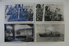4 old China postcards,SS Hai Ching destroyed by Pirates entering Hk in 1829