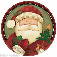 "8 Christmas Cosy Cheerful Santa Claus Party Large 9"" Disposable Paper Plates"