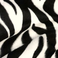Black & Ivory Zebra Stripe Print Velboa Faux Fur Fabric