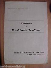 """L'écorce administrateurs de BROOKLANDS tradition """"essai routier"""" reproduit dans le moteur 1957"""