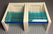 Lego City Garage X2 White W/ Trans-blue Roller,Blue Handle & Side Panel Walls