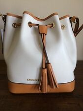 $288 New Dooney & Bourke Large Serena White Drawstring Bucket Bag Leather