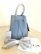 NWT Furla Women's Baby Blue Stacy Mini Drawstring Bucket Bag $248