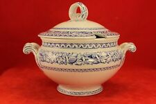 Antique 1860 Minton - Italian Fruit Border - Blue and White Small Sauce Tureen