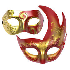 "His & Hers Halloween Mask Set. Venetian Masquerade Party  - ""Aurora"" Red / Gold"