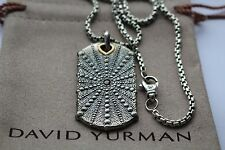 David Yurman men's dog tag pendant with 1 black diamond  and  chain 22 inches