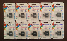 LOT OF 10 ADATA MICROSD 8GB CLASS 10 MICRO SDHC SD 50MB/s HD VIDEO MEMORY CARD