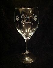COLLIE MUM ETCHED WINE GLASS GIFT PRESENT DOG BORDER BEARDED ROUGH SMOOTH DOGS
