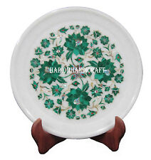 "9"" Marble Serving Plate Mosaic Real Malachite Floral Inlay Home Decor Gift H2561"