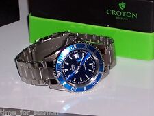 Croton Mens Croton Steel Diver 20 Atm Date Watch