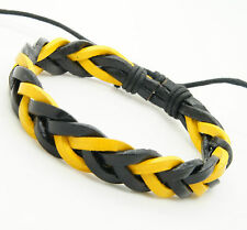 Handmade Unisex Men Women's Genuine Leather Bracelet Black And Yellow Adjustable