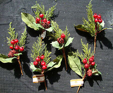 6 Christmas Picks Berries Pinecone decorations Wreaths Garlands Floristry
