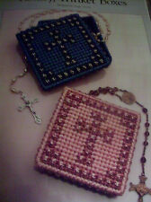 PLASTIC CANVAS PATTERN ~ ROSARY TRINKET BOXES  , RELIGIOUS    INSTRUCTIONS
