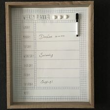 wipe clean Wooden Frame Weekly Planner Magnetic White board Memo Board 53x43 Cm