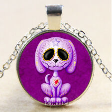 Photo Cabochon Glass Silver Chain Pendant Necklace(Zombie Sugar Puppy