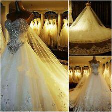2017 Luxury Sweetheart custom crystals cathedral wedding bridal dress gown