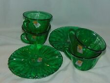 4 Dell TULIP GREEN*CUPS & SAUCERS * w/STICKERS*