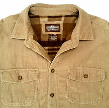 Levi Strauss Tan Corduroy Shirt Jacket w/ Plaid Flannel Lining Mens Large