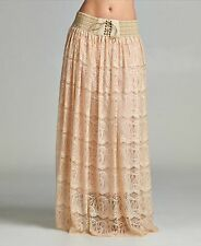 Exquisite Champagne Lace Tie-Front Maxi Skirt, NWT, One Size Boho and Beautiful!