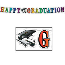 Beistle Happy Graduation Streamer, linked multicolored  banner 5-Inch by 5-Feet