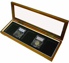 Wood Glass-top Display Box - 5 Certified PCGS NCG Premier Coin Slabs