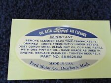 1935-38 FORD TRUCK 1935-40 FORD CAR  OIL BATH AIR CLEANER DECAL   NEW  516