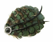 Dark Green Black Silver Lady Amherst Pheasant Feather Fascinator Races Vtg B53