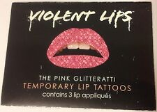 Violent Lips Pink Glitteratti Temporary Lip Tattoos Appliqués