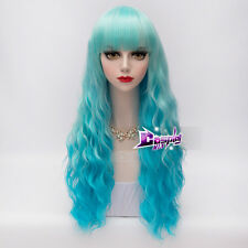 60CM Mixed Blue Curly Long Hair Lolita Anime Heat Resistant Cosplay Wig + Cap
