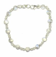 Handmade 925 Sterling Silver Bracelet with Rainbow Moonstone Stones and Gift Box