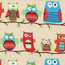 Timeless Treasures Fabric - Owls - Cream - 100% Organic Cotton owl