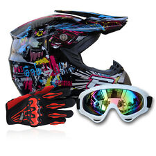Dot Motocross+Goggles+Gloves Off-Road Motorcycle ATV Helmets Dirt Bike Gear S-XL