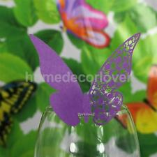 50pcs Purple Butterfly Wedding Name Place Cards For Wine Glass Laser Cut On