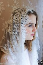 Evintage Veils~ Our Lady Vintage Inspired Lace Chapel Veil Mantilla WHITE