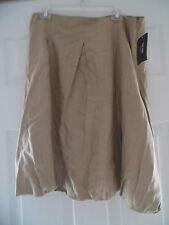 NICOLE MILLER STUDIO Beige Khaki Pleated Timeless Flare  Skirt Sz 16