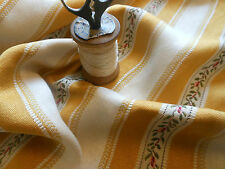 Vintage Retro Shabby French Old Mustard Gold Lisere  Roses Floral Stripe Brocade