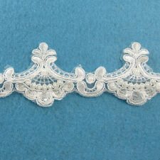 1 METRE CREAM / IVORY BEADED LACE BRIDAL WEDDING TRIM TRIMMINGS 50mm WIDTH HL43