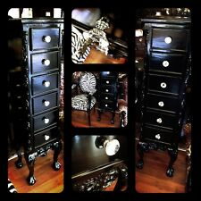 French Provincial Black Chest Drawers Antique New Tallboy Vintage Crystal