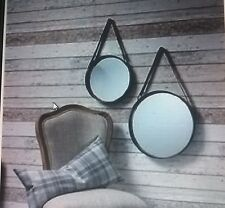 Heart of House Colby Leather Effect Strapped Hanging Mirror. 35cm - BRAND NEW