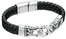 """Fred Bennett 9"""" 1.5oz Black Leather & Stainless Steel Mens Dragon Scale Bracelet"""