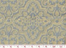 Gorgeous! Linen Silk Damask Clarence House Upholstery Fabric Fosca CL Blue Yello